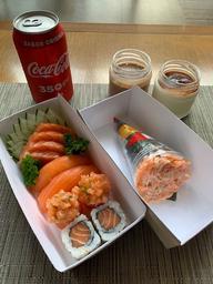 Combo Sushi + Temaki + Bebida + Sobremesa - 10 Unidades