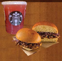 Chá Verde com Limonada e Blueberry com Pork Barbecue