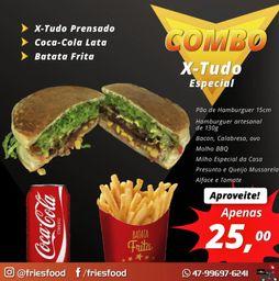 X tudo + fritas + refri 200 ml