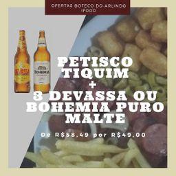 Petisco Tiquim mais 3 cerveja Bohemia