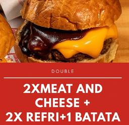 2 hambúrguer + refri de 1l + 2 batatas