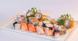 Delicioso combinado de sushi com 18 peças
