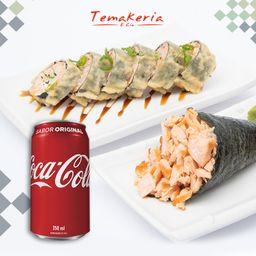 Combo Temaki Salmão Grelhado + Hot Roll + Bebidas Coca-Cola