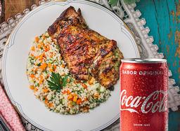 30%OFF: Sobrecoxa + Couscous Marroquino + Coca-Cola