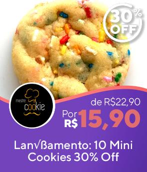 30%OFF. Combo com 10 mini Cookies Rainbow - massa com sabor de baunilha e muito granulado colorido para agradar crianças de 0 a 99 anos.